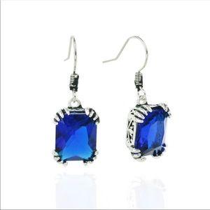 Blue Sapphire Crystal Dangle Earrings